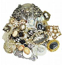 Costume Jewelry Cameo, Necklace & Pin Lot
