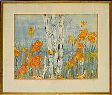 Signed Serigraph, Birch Tree Among Wildflower