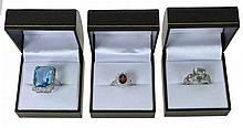3 Pc. Sterling Silver Garnet, Amethyst Ring Lot