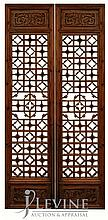 PAIR Carved Asian Wooden Screen Panels