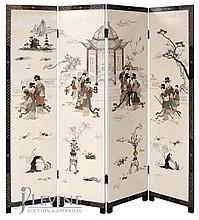 4 Panel Asian Screen w/ Applied Figures