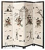 4 Panel Asian Screen w/ Applied Figures