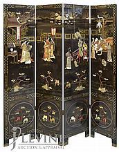 4 Panel Asian Screen w/ Applied Courtyard Scene