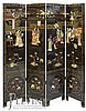 4 Panel Asian Screen w/ Applied Courtyard Scene