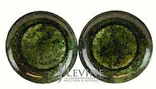 PAIR of Spinach Jade Plate Lot