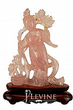 Pink Jade Figural Carving w/ Stand