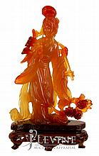 Carved Red/Yellow Jade Figure w/ Stand