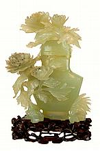 Carved Speckled Jade Urn w/ Stand