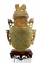 Carved Jade Urn w/ Stand #3