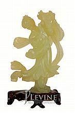 Yellow/Green Jade Figural Carving w/ Stand
