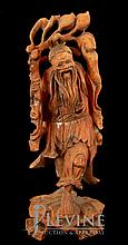 Asian Carved Wood Sculpture, Laughing Man w/ Fruit