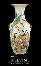 Chinese Ceramic Temple Vase w/ Wooden Stand #3