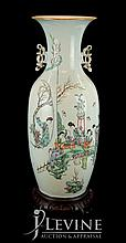 Chinese Ceramic Temple Vase w/ Wooden Stand #4