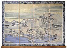 Michael Allen Hampshire (1933-2013) Asian 4 Panel Needlepoint Landscape