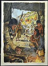 Michael Allen Hampshire (1933-2013)Neolithic Village Life Illustration