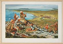 Michael Allen Hampshire (1933-2013) Scandinavian Fishing Village Illustration