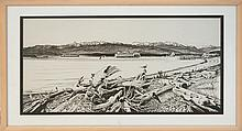 Michael Allen Hampshire (1933-2013) Pacific Northwest Shipping Channel Drawing