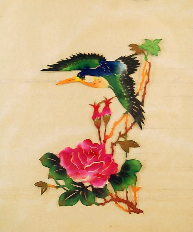 Asian Reverse Painted Bird on Glass