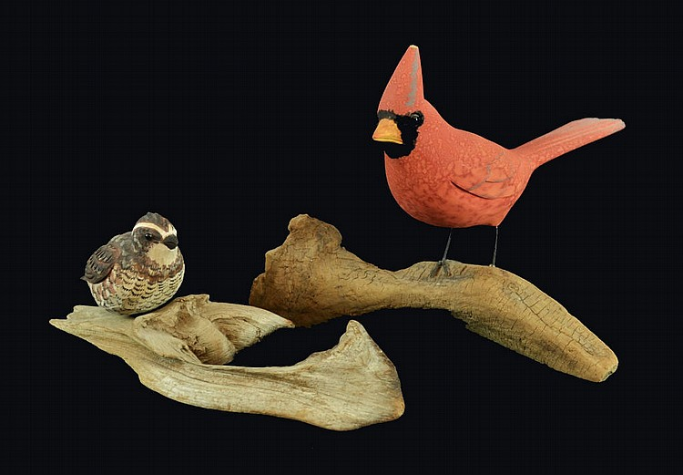 2 pieces, carved birds, both are signed.