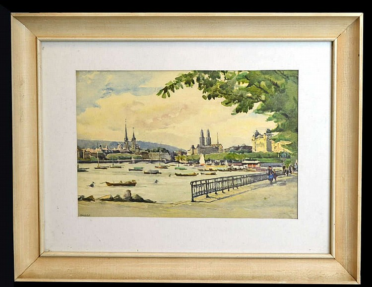 Watercolor painting by Marc, Harbor scene in Paris