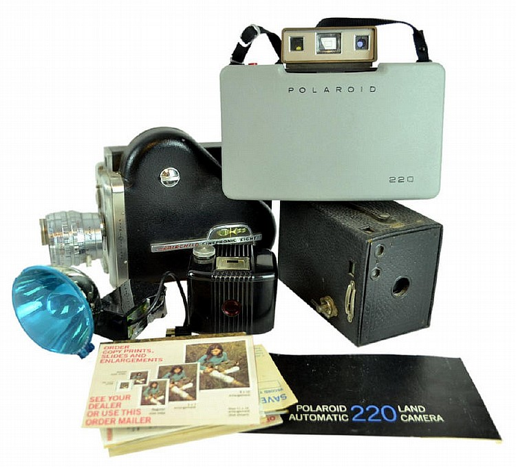 Camera lot: Fairchild Cinephonic 8, Polaroid 220,