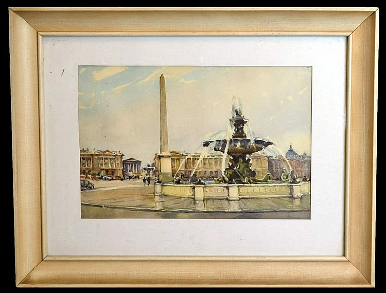 Watercolor painting by Marc, Fountain in Paris.