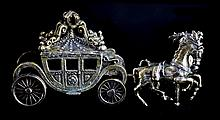 Sterling Miniature Elegant Horse-Drawn Carriage