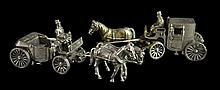 PAIR Sterling Miniature Horse-Drawn Carriages