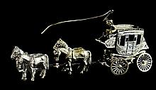 Sterling Silver Miniature Horse-Drawn Stage Coach