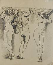 T. Henke Nude Trio Drawing