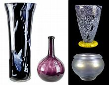 (4) Pcs. Art Glass Vase & Bowl Lot