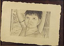 Drawing Native Boy, Signed Tracy