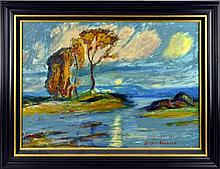Birger Sandzén Signed Oil Painting, Rising Moon