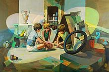 Signed Oil Painting, Children Playing