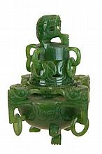 Carved Miniature Tri-Foot Spinach Jade Censer