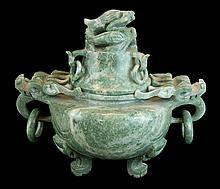 Asian Soapstone Dragon Censer