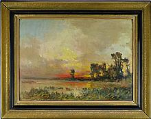 Vintage Oil Painting of Sunset, Signed