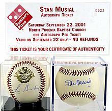 PAIR Signed Baseballs: Stan Musial, Luis Gonzalez