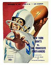 1959 NFL Program, Utah, New York Giants VS 49er's