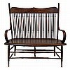 Antique Wood High Back Windsor Style 2-Seat Bench