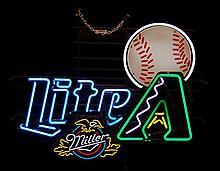 Miller Lite Beer Advertisement AZ Diamondbacks Baseball Neon Sign