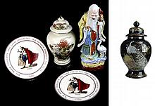 Asian Porcelain Jar, Statue, and Hallmark Norman Rockwell Collector's Plate Lot