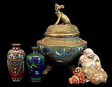 Chinese Cloisonne Censer, Vase, & Buddha Lot