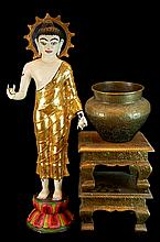 Asian Deity, Stool, and Brass Planter Lot