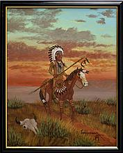 Jimmy Yellowhair Oil Painting, Native American Chief with Horse