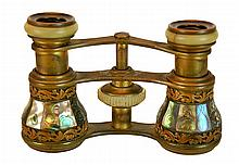 Antique French Abalone & Brass Opera Glasses