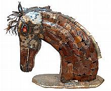 HUGE Mixed Sheet Metal Horse Head Indoor/Outdoor Sculpture