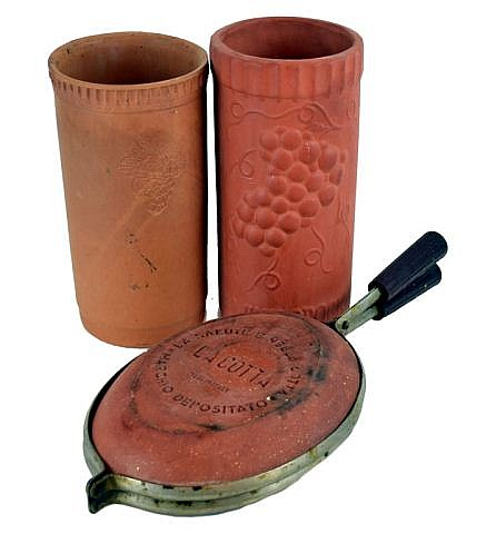 Terra cotta lot. 2 wine bottle coolers and pan.