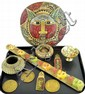 Decorative items, brass medallions, compote,