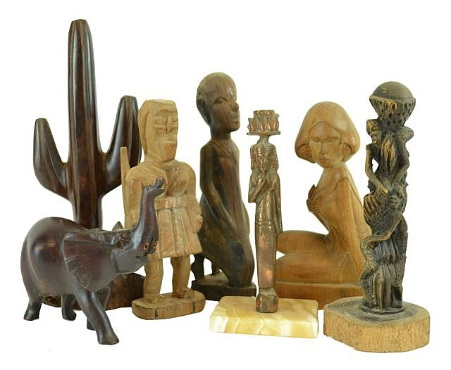 Carved wooden figures, metal Egyptian statue,